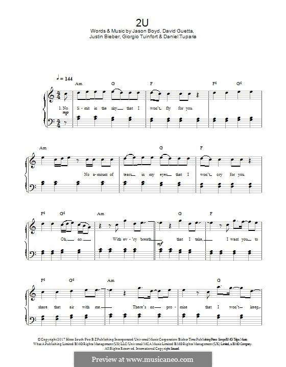 2U: Для фортепиано by David Guetta, Giorgio Tuinfort, Jason Boyd, Justin Bieber, Daniel Tuparia
