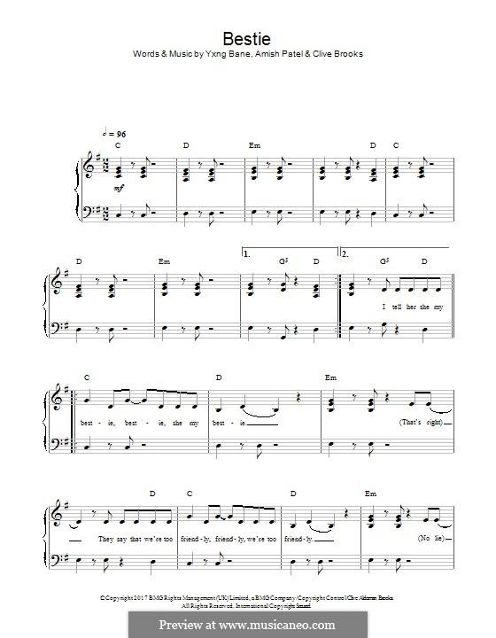 Bestie (Yungen): Для фортепиано by Amish Patel, Clive Brooks, Yxng Bane