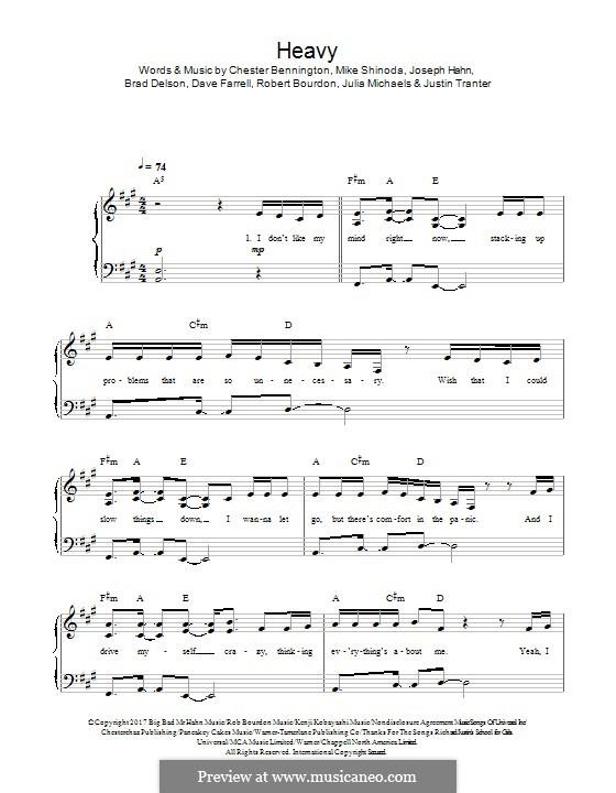 Heavy (Linkin Park): Для фортепиано by Brad Delson, Charles Bennington, David Farrell, Joseph Hahn, Mike Shinoda, Rob Bourdon, Julia Michaels, Justin Tranter