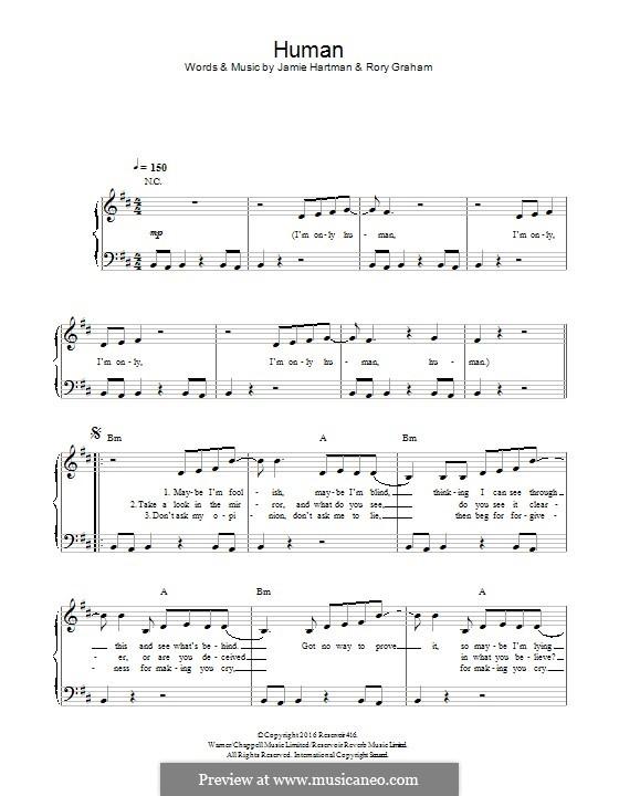 Human (Rag'n'Bone Man): Для фортепиано by Jamie Hartman, Rory Graham