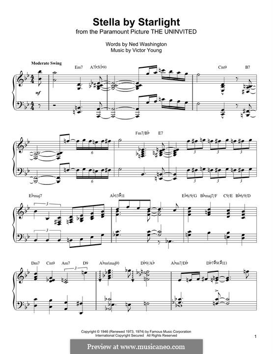 Stella By Starlight: For piano (Oscar Peterson) by Victor Young
