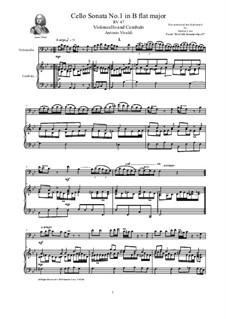 Six Cello Sonatas for Cello and Cembalo, Op.14: Cello Sonata No.1 in B flat major, RV 47 by Антонио Вивальди
