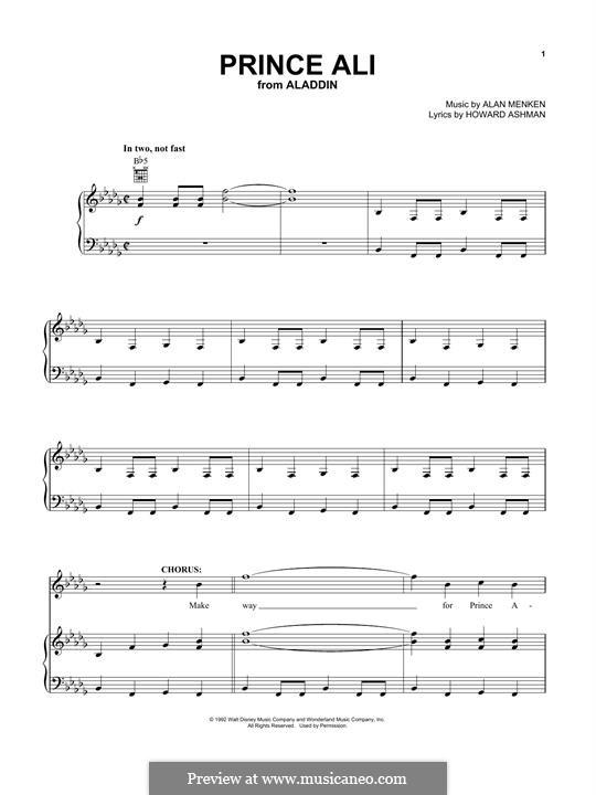 Prince Ali (from Aladdin): Для голоса и фортепиано by Alan Menken