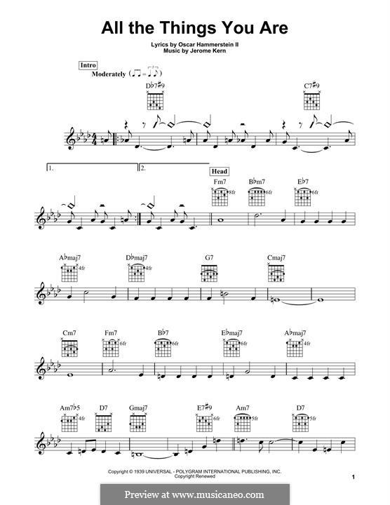 All the Things You are: Гитарная табулатура by Джером Керн