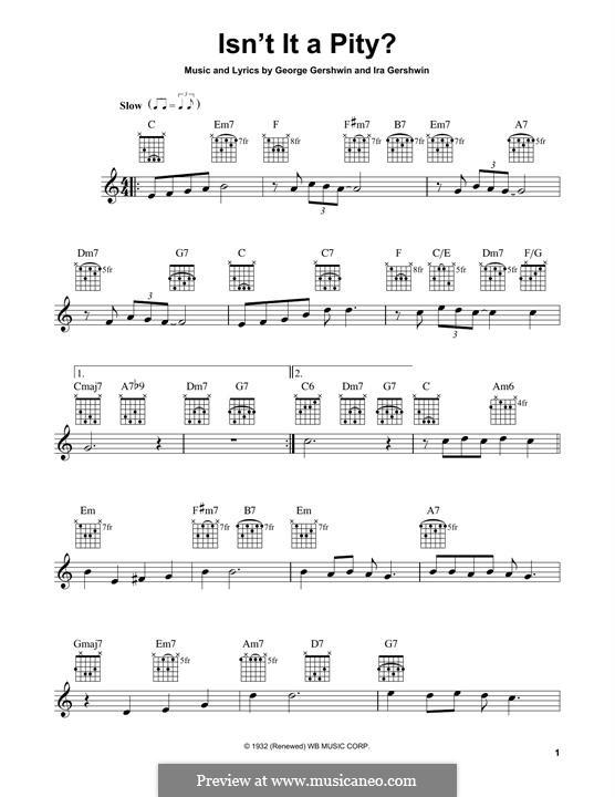 Isn't It a Pity?: Гитарная табулатура by Джордж Гершвин