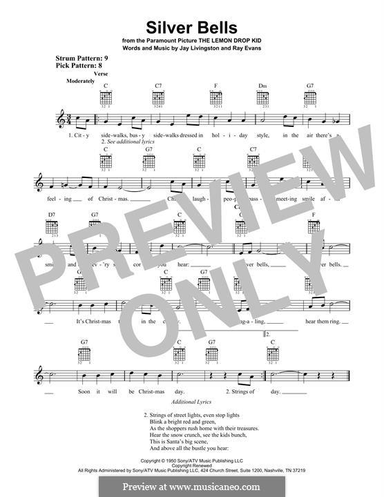 Silver Bells: Гитарная табулатура by Jay Livingston, Raymond Evans