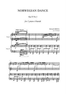 Четыре норвежских танца, Op.35: Dance No.1, for piano four hands by Эдвард Григ