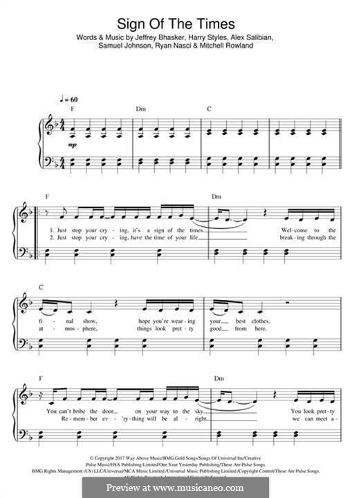 Sign of the Times: Для фортепиано by Jeff Bhasker, Harry Styles, Tyler Sam Johnson, Alex Salibian, Mitch Rowland, Ryan Nasci