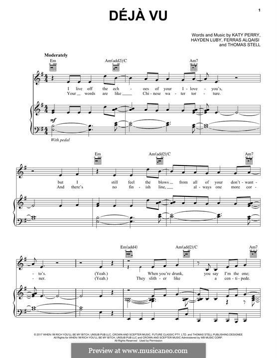 Deja Vu: Для голоса и фортепиано (или гитары) by Ferras Alqaisi, Katy Perry, Hayden Luby, Thomas Stell