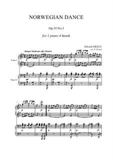 Четыре норвежских танца, Op.35: Dance No.3, for piano four hands by Эдвард Григ