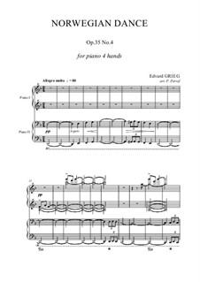 Четыре норвежских танца, Op.35: Dance No.4, for piano four hands by Эдвард Григ