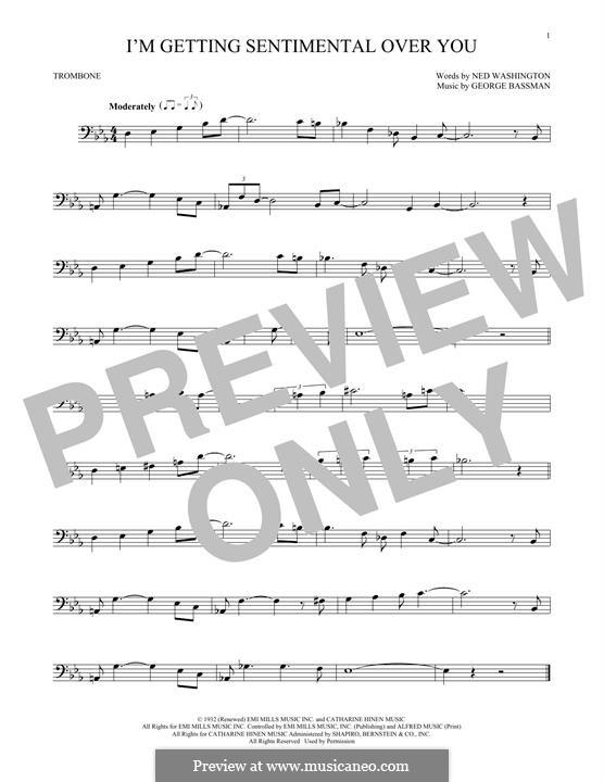 I'm Gettin' Sentimental Over You (Frank Sinatra): For trombone by George Bassman