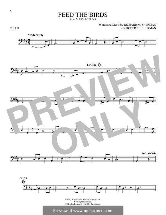 Feed the Birds (Tuppence a Bag): Для виолончели by Richard M. Sherman, Robert B. Sherman