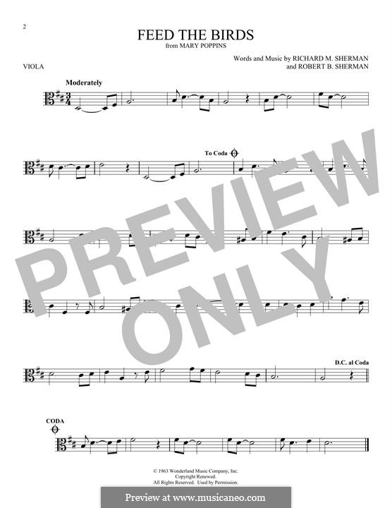 Feed the Birds (Tuppence a Bag): For viola by Richard M. Sherman, Robert B. Sherman