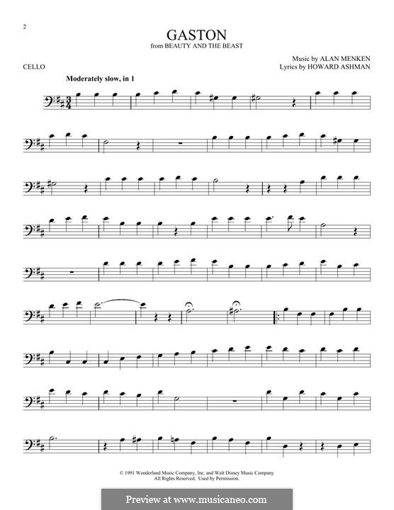 Gaston (from Beauty and the Beast): Для виолончели by Alan Menken