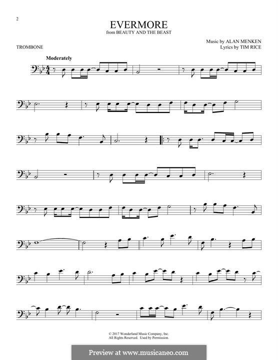 Evermore: For trombone by Alan Menken