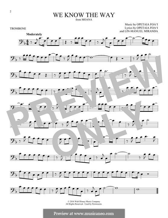 We Know the Way (from Moana): For trombone by Lin-Manuel Miranda, Mark Mancina, Opetaia Foa'i