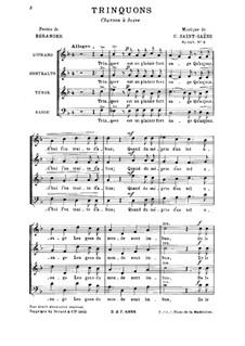 Two Choirs. No.2 Trinquons, Op.141: Two Choirs. No.2 Trinquons by Камиль Сен-Санс