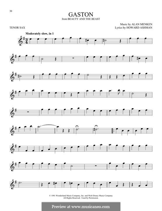 Gaston (from Beauty and the Beast): Для тенорового саксофона by Alan Menken