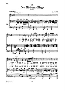 Жалоба девушки, D.191 Op.58 No.3: Для низкого голоса и фортепиано by Франц Шуберт