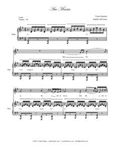 Аве Мария (вокально-фортепианная партитура), D.839 Op.52 No.6: For voice and piano (english lyrics - low key) by Франц Шуберт
