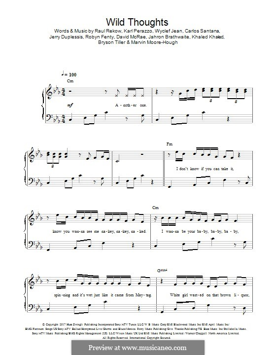 Wild Thoughts: Для фортепиано by Rihanna, Khaled Mohamed Khaled, Bryson Tiller