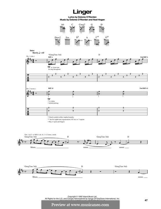Linger (The Cranberries): Гитарная табулатура by Dolores O'Riordan, Noel Hogan