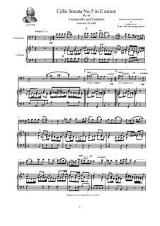 Six Cello Sonatas for Cello and Cembalo, Op.14: Cello Sonata No.5 in E minor, RV 40 by Антонио Вивальди