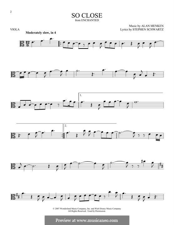 So Close: For viola by Alan Menken