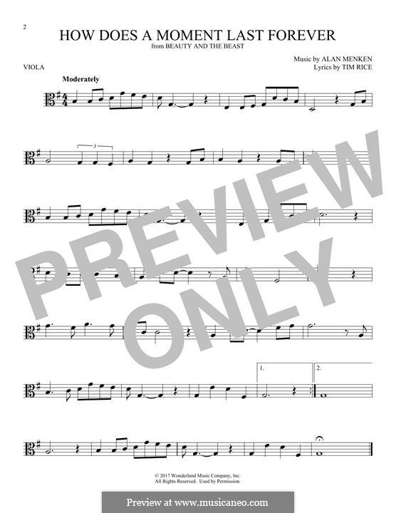 How Does a Moment Last Forever (Celine Dion): For viola by Alan Menken
