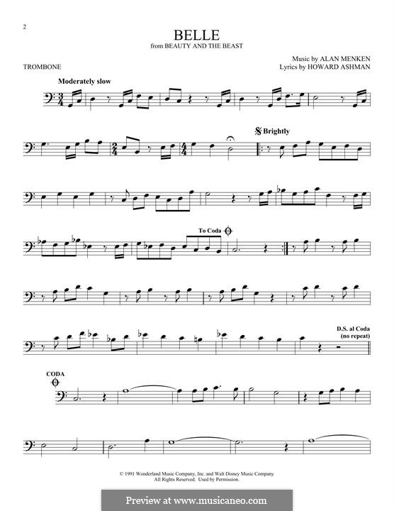 Belle (from Beauty and the Beast): For trombone by Alan Menken