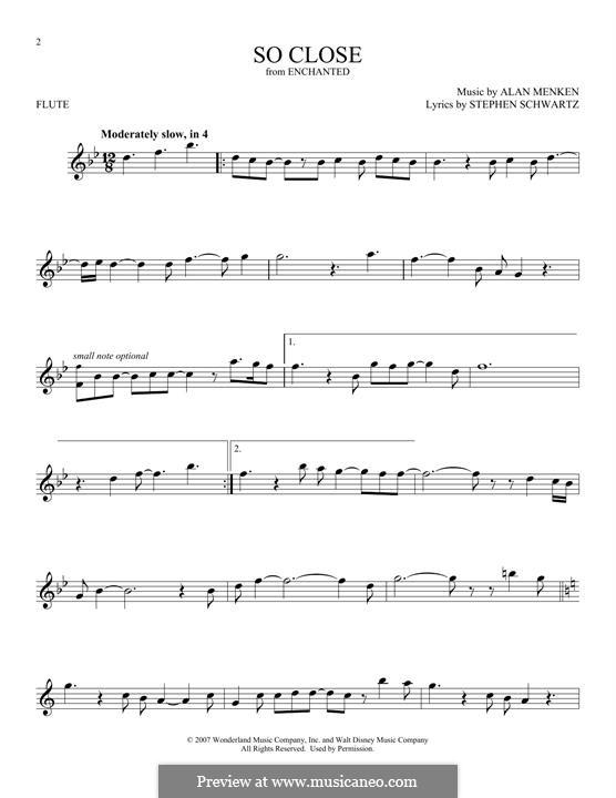 So Close: Для флейты by Alan Menken