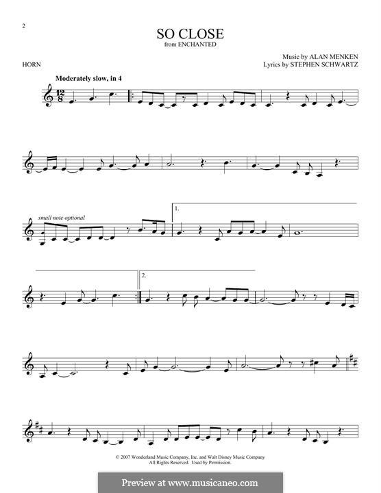 So Close: For horn by Alan Menken