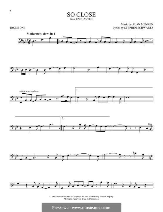 So Close: For trombone by Alan Menken