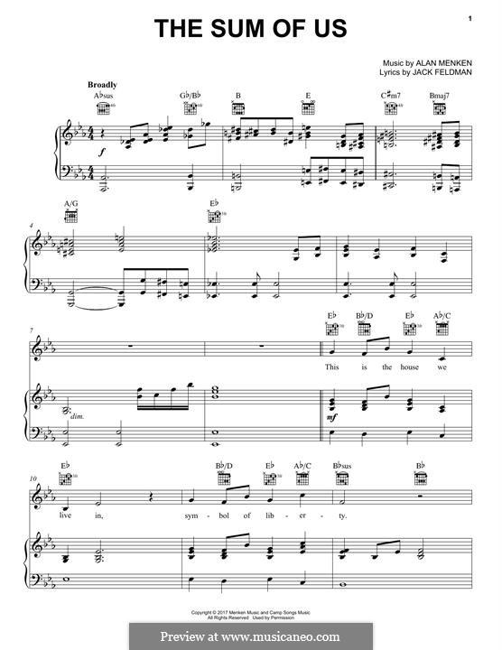 The Sum of Us: Для голоса и фортепиано (или гитары) by Alan Menken