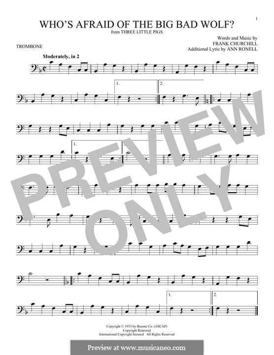 Who's afraid of the big bad wolf?: For trombone by Frank Churchill