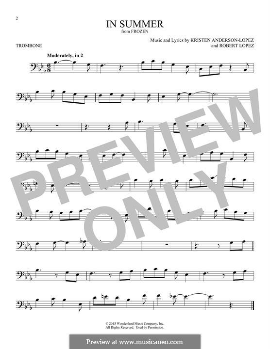 In Summer: For trombone by Robert Lopez, Kristen Anderson-Lopez