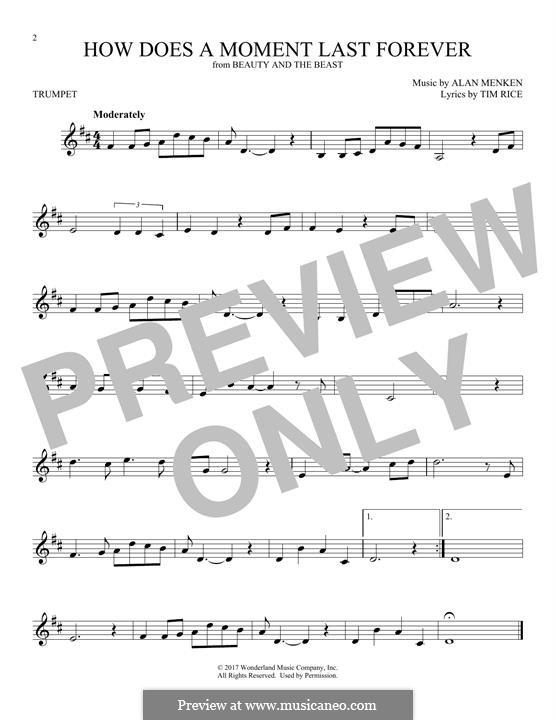 How Does a Moment Last Forever (Celine Dion): Для трубы by Alan Menken