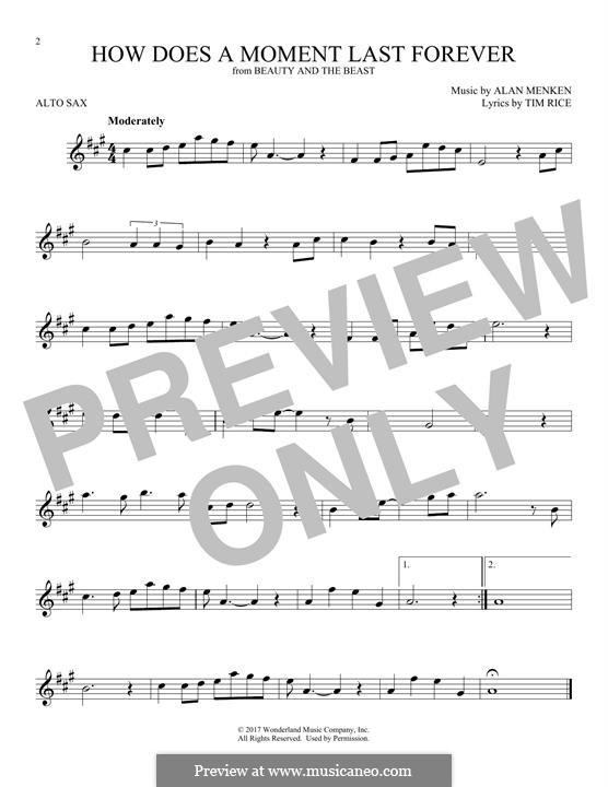 How Does a Moment Last Forever (Celine Dion): Для альтового саксофона by Alan Menken