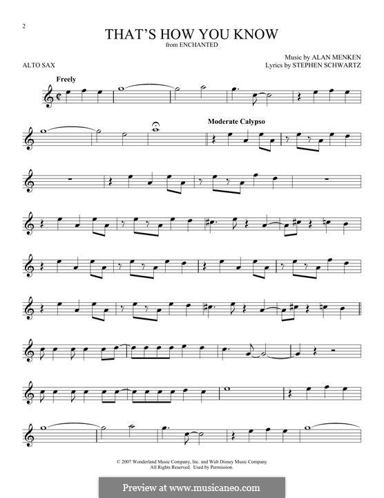 That's How You Know: Для альтового саксофона by Alan Menken
