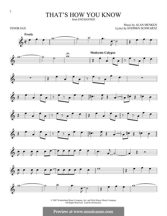 That's How You Know: Для тенорового саксофона by Alan Menken