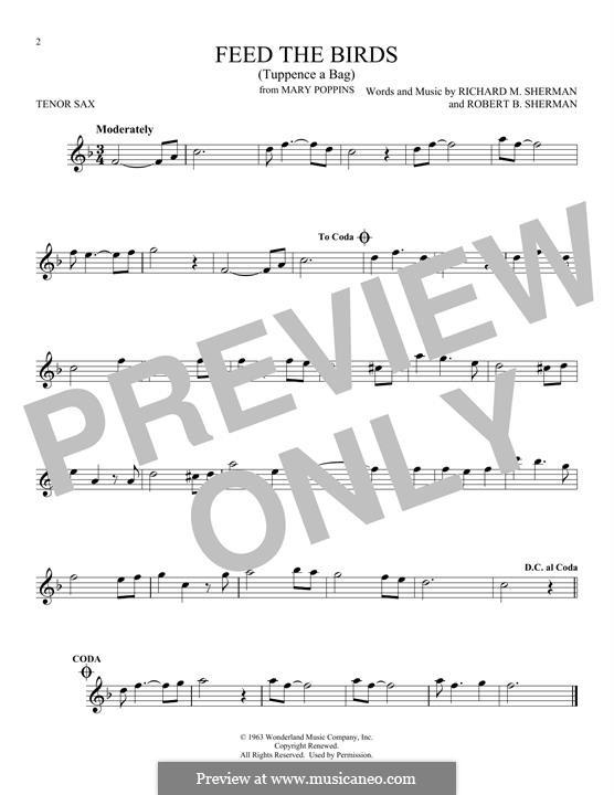 Feed the Birds (Tuppence a Bag): Для тенорового саксофона by Richard M. Sherman, Robert B. Sherman