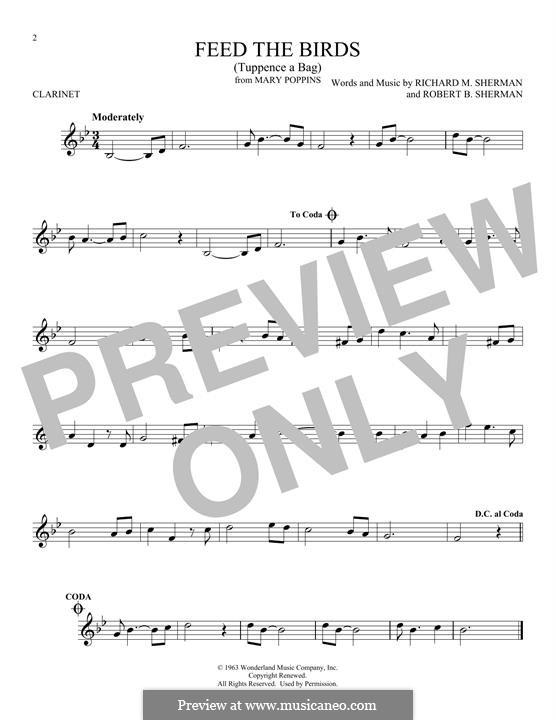 Feed the Birds (Tuppence a Bag): Для кларнета by Richard M. Sherman, Robert B. Sherman
