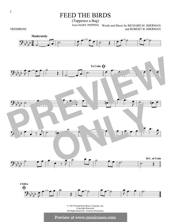 Feed the Birds (Tuppence a Bag): For trombone by Richard M. Sherman, Robert B. Sherman