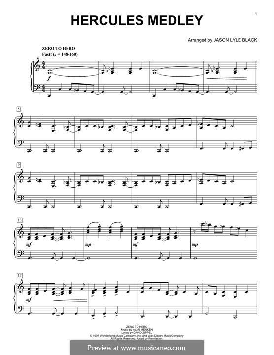 Hercules Medley: Для фортепиано by Alan Menken