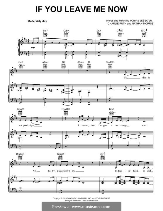 If You Leave Me Now (feat. Boyz II Men): Для голоса и фортепиано (или гитары) by Nathan Morris, Charlie Puth, Tobias Jesso