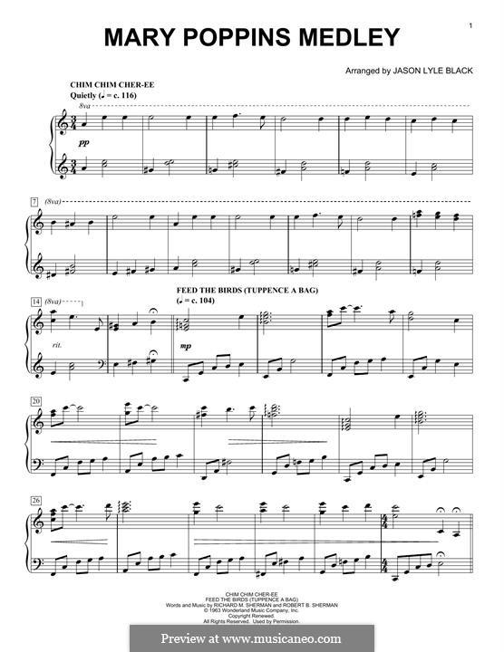 Mary Poppins Medley: Для фортепиано by Richard M. Sherman, Robert B. Sherman