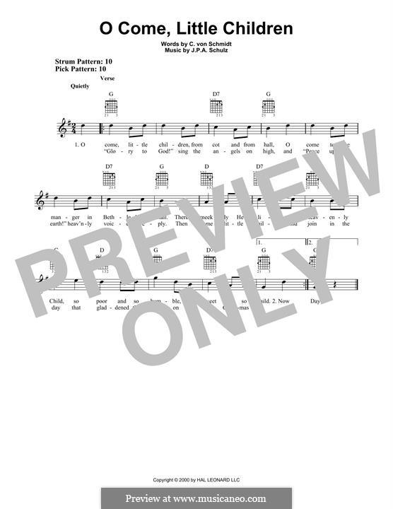 O Come, Little Children: Гитарная табулатура by Иоганн Авраам Шульц