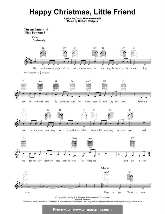 Happy Christmas, Little Friend: Гитарная табулатура by Richard Rodgers