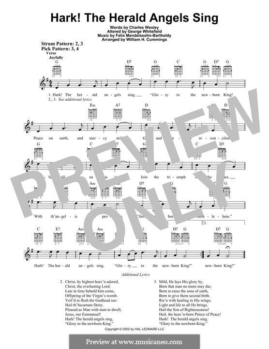 Hark! The Herald Angels Sing, for Solo Instrument: Гитарная табулатура by Феликс Мендельсон-Бартольди